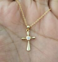 14k Yellow Gold Crystal Cross Charm Pendant Chain Necklace