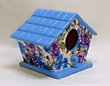 Handmade Ceramic Decoupage Birdhouse, Blue & Lilac Floral
