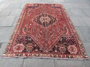 Vintage Hand Made Traditional Oriental Wool Red Pink Large Rug Carpet 260x181cm