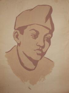 Antique large gouache painting boy portrait
