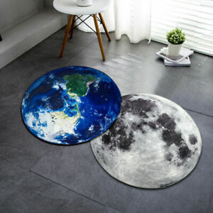 Soft Round Carpet 3D Moon Earth Planet Floor Mat Anti-slip Rug Chair Mat Decor
