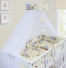 Baby Bedding Set Cot Cotbed 3 6 10 14 Pieces Pillow Duvet Cover Bumper Canopy Zoo Red 120 X 60cm 6 Pieces