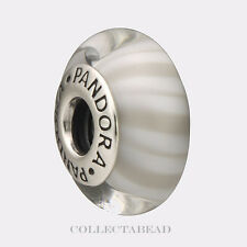 Authentic Pandora Silver Murano Grey Candy Stripes Bead 790686 *RETIRED*
