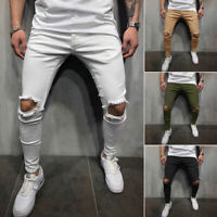 Men Casual Pant Stretch Pant Ripped Skinny Pant Destroyed Trousers Slim Fit Pant