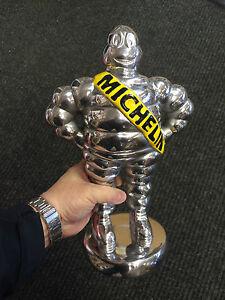 Michelin man polished aluminium collectable Michelin man mascot on base silver