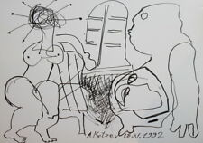 1992 - ABSTRACT FIGURES INK DRAWING NUDE FEMALE SIGNED