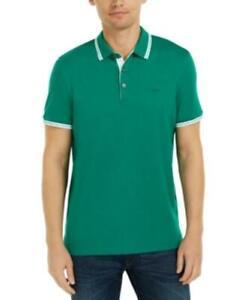 Michael Kors Men's Collared Short Sleeve Liquid Cotton Polo Shirt (Green, L)