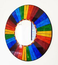 Mirror round mosaic wall mirror, rainbow sections, handmade in Bali 50cm NEW