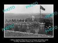 OLD LARGE HISTORIC PHOTO TETBURY ENGLAND AUSTRALIAN FLYING CORPS MEMORIAL 1918