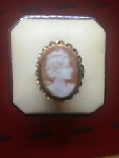 Vintage 14k Solid Yellow Gold Carved Shell Cameo  Ring
