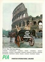 1969 Original Advertising' Pia Pakistan International Airlines Roma Colosseum