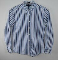 TOMMY HILFIGER Mens Long Sleeve Shirt, Button Down, Blue White Stripe, Sz Large