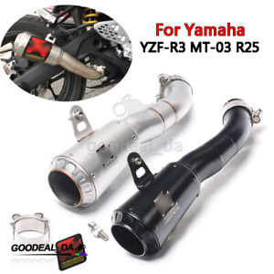 Motorcycle Exhaust System Tail Pipe For Yamaha YZF-R3 MT-03 R25 Slip On 36mm