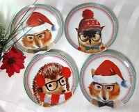 "4x Ciroa Celebrate Christmas Forest Animals Salad Dessert Side Plates 7.5"""