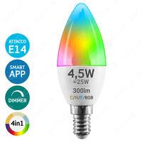 LAMPADINA LED SMART E14 4,5W Candela Dimmerabile Wi-fi Intelligente RGB Bianco •