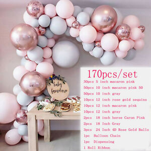 170Luftballons + Ballonbogen Kit Set Chrom Macaron Luftballons Hochzeitsgirlande