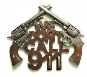 """WALL PLAQUE: PISTOLS -  """"We Don't Call 911""""  13.75"""" x 11.5"""", made of Polyresin"""