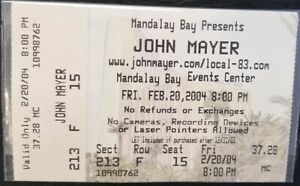 JOHN MAYER - FEB. 20, 2004 MANDALAY BAY LARGE CONCERT TICKET STUB