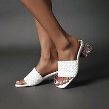 Women Comfort Peep Toe Crystal Backless Block Mid Heels Slippers Sandals 34-48 D