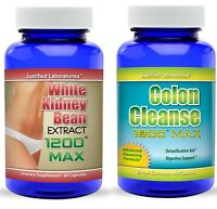 White Kidney Bean Extract 1200 Max Colon Cleanse Detox Weight Loss Carb Blocker