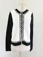 Carlisle Womens Black White Color Block Knit Zebra Print Cardigan Sweater Size M