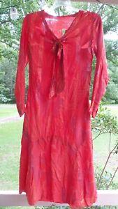ANTIQUE! UNUSUAL Bright ORANGE Striped DRESS w TIE  Salvage DOLL DRESS MATERIALS