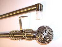 28mm Antique Brass Bay Window Curtain Pole System Circle Ball Finials 2.4m 240cm