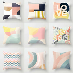 """18"""" Pink Abstract Geometric Pillow Case Soft Throw Cushion Cover Sofa Home Decor"""