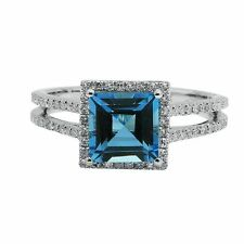 14K WHITE GOLD PAVE DIAMOND BLUE TOPAZ COCKTAIL ENGAGEMENT HALO RING
