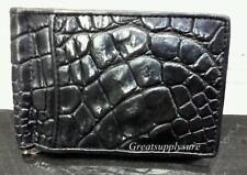 Money Clip genuine Crocodile Wallet Leather Bifold Mens Black Holder Credit card