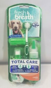 TropiClean Fresh Breath Plaque & Tartar Remover Oral Care Kit for Large Dogs New