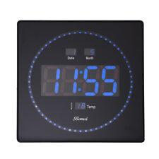 Wanduhr LED digital Wanduhr mit Datum Wartezimmeruhr Bürouhr groß 320x320mm blau