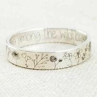 925 Silber handgemachte geschnitzte Blumen Pflanzenring Frauen Hochzeitsschmuck
