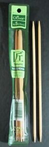 """26x Knitting Needles CLOVER/PLYMOUTH Double-Point Bamboo (US 5-8, 6""""-8"""")-IR20"""