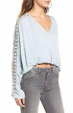 NWT$98 Free People Runaway Crochet Detail Blouse,S,Sky,OB562892,190383074771