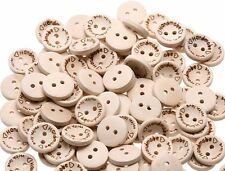 "100 ""hecho a mano con amor"" Botones de Madera-Scrapbooking-Manualidades-Costura UK"