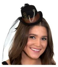 Mini Steampunk Black Top Hat on a Headband Cocktail Veil Women Costume Accessory