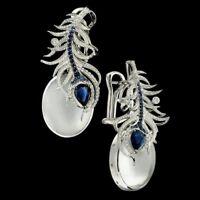 925 Silver Moonstone&Blue Sapphire Luxury Women Prom Ear Dangle Earrings Gift