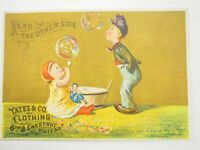 A.C.Yates & Co, Fine Clothing Merry Christmas New Years PA.Victorian Card 1880s