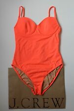 NWT J Crew Neon Underwire One Piece Swimsuit 2 Extra Small Neon Papaya $98 B8864