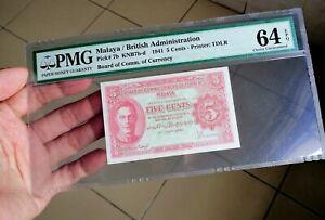 """1941 Malaya KGVI 5 cents Scarce Variety """"b & c"""" PMG 64 EPQ"""