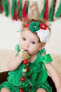 Vintage Holiday Red Green White Christmas  Flower Baby/Toddler /Girl Headband
