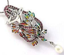 Estilo Moderno Perla Colgante Rubí & Esmaltado Broche Plata de Ley