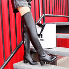 Women's Zip Med Heel Synthetic Leather Over Knee Boots Shoes AU Plus Size 2-9