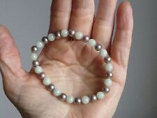 Green Jade and Dusky Lilac Shell Pearl Stretchy Bracelet