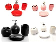 4 Piece Elegant Ceramic Bathroom Accessory Set - Ribbed Design