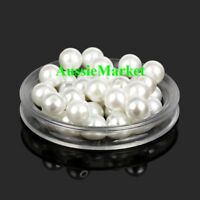 50 x beads white imitation pearl ladies girls necklace bracelet jewellery 8mm