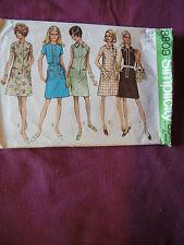 Vintage Simplicity Pattern 8809 Miss Dress 1970 Sz 14 Bust 36 Front Zipper A-Ln
