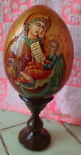 MOTHER OF GOD wood icon -egg handpainted LARGE