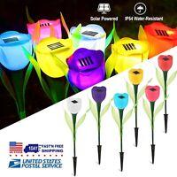 Solar Powered Tulip Flower LED Light Garden Outdoor Patio Lawn Yard Decor Lamp